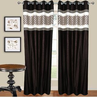 Pari Home furnishing Coffee Polyester Door Eyelet Curtain Set Of 2