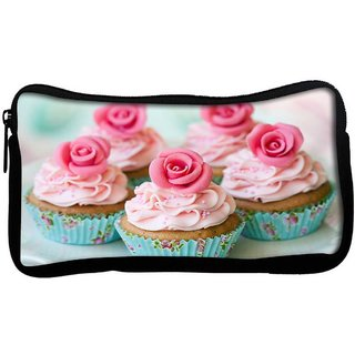 Cake With Roses Poly Canvas  Multi Utility Travel Pouch