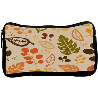 Cream Pattern Leaves Poly Canvas S Multi Utility Travel Pouch