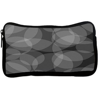 Grey Circles Black Pattern Poly Canvas S Multi Utility Travel Pouch