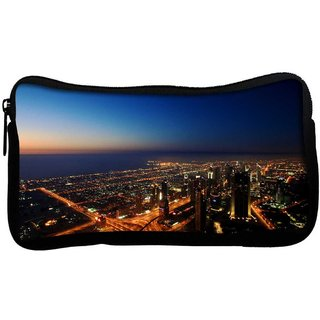 City At Night Poly Canvas  Multi Utility Travel Pouch