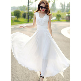 Westchic White Plain A Line Dress For Women