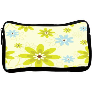 Green Flowers Poly Canvas S Multi Utility Travel Pouch