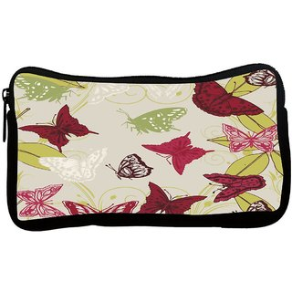 Red Butterflies Poly Canvas S Multi Utility Travel Pouch