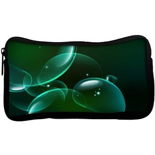 Green Bubbles Poly Canvas  Multi Utility Travel Pouch