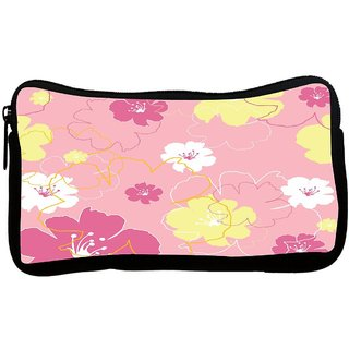Pink Flowers Poly Canvas S Multi Utility Travel Pouch