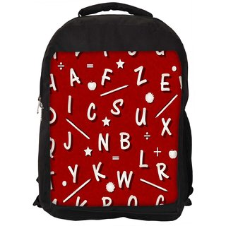White Alphabets Red Digitally Printed Laptop Backpack