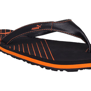 78cea703014 Buy Puma Webster IND Black Orange Slippers Flip Flops Online ...