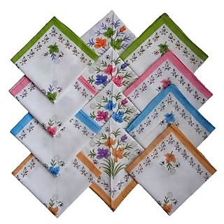 Sofia 100% Cotton Flower Print Ladies Handkerchiefs - Set of 12