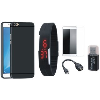 Oppo F5 Soft Silicon Slim Fit Back Cover with Memory Card Reader, Free Digital LED Watch, Tempered Glass and OTG Cable