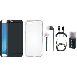 Oppo F5 Soft Silicon Slim Fit Back Cover with Memory Card Reader, Silicon Back Cover, Earphones, USB Cable and AUX Cable