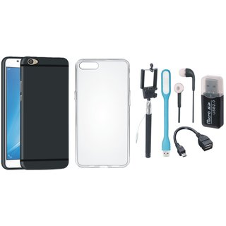 Oppo F5 Soft Silicon Slim Fit Back Cover with Memory Card Reader, Silicon Back Cover, Selfie Stick, Earphones, OTG Cable and USB LED Light