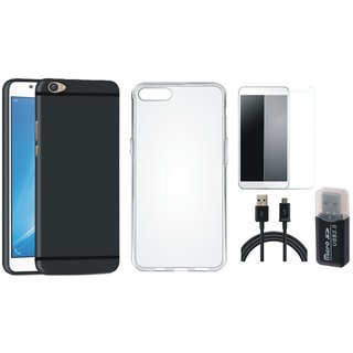 Oppo F5 Soft Silicon Slim Fit Back Cover with Memory Card Reader, Silicon Back Cover, Tempered Glass and USB Cable