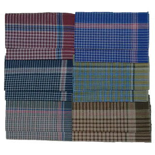 Tikasu Mens Hand Kerchief 16x16 Inch HMKA07S001C0 (Pack of 12)