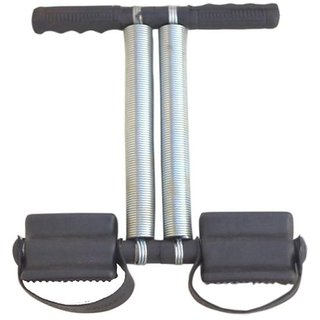 Gold Dust Tummy Trimmer Double Spring Health Care Resistance Tube (Black, Silver)
