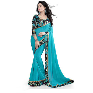 Styloce Multicolor Georgette Printed Saree With Blouse