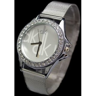 dksNew Unique Attractive Designer Silver Color Wrist Watch for Girls (F-122)
