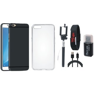 Vivo V5 Soft Silicon Slim Fit Back Cover with Memory Card Reader, Silicon Back Cover, Selfie Stick, Digtal Watch and USB Cable