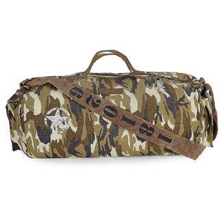 The House Of Tara Distress Finish Canvas Duffle/Gym Bag (Desert Camouflage)