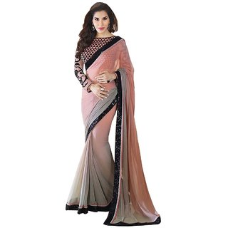 Tiana Creation Pink Georgette Embroidered Saree With Blouse