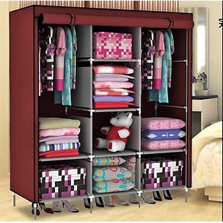 Rbshoppy 8 Shelves Fabric Folding Foldable Wardrobes Storage Almirah A  3  (Maroon)