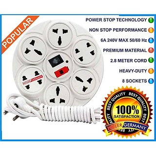 Branded Extension Board / Power Strip 6 Amp 8 Plug Point with Master Switch, LED Indicator