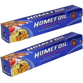 Homefoil Food Wrap Aluminium Foil 72 MTR Pack of 2 (TOTAL 144 MTR Guaranteed)