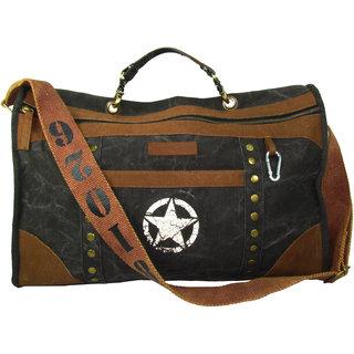 The House Of Tara Distress Finish Studded Duffle Bag (Phantom Black)