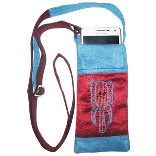Indha Craft Indha Elephant Trunk Embroidery Mobile Pouch Mobile Pouch (Multicolor)