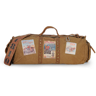 The House of Tara Vintage Travel/ Crossbody/ Weekender/ Overniter/ Gym/ Duffle Bag (Khaki) HTD 123