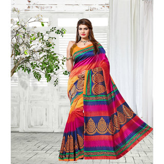 Vistaar Creation Multicolor Art Silk Printed Saree With Blouse