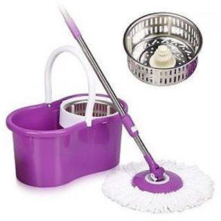 Kakadiy's Violet Plastic 360 Degree Rotation Single Bucket Mop (5 lt.)
