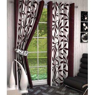 iLiv Brown Semi Transparent Kolaveri Door Curtain Set Of 2 - 7ft