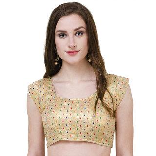 Naira Couture Brocade Golden Multicolor Readymade Designer Blouse