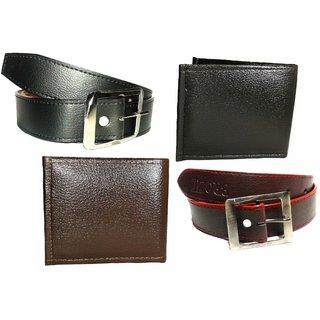 Divya New Fashion India Combo of 1 Brown Belt+1 Black Belt+1 Brown Wallet+1 Black Wallet