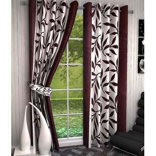 iLiv Floral Brown Kolaveri Polyester Door Eyelet Semi Transparent Curtain For Bed Room 7 Feet (Set Of 2)