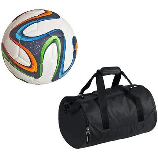 Combo of Multicolor Brazuca Football (Size-5) with Kit Bag