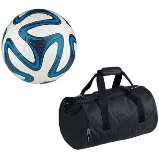 Combo of Brazuca Blue Football (Size-5)with Kit Bag