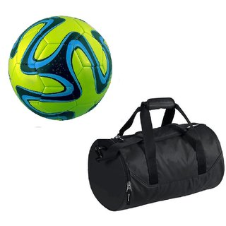 Combo of Green Brazuca Football (Size-5)with Kit Bag