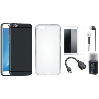 Oppo F5 Soft Silicon Slim Fit Back Cover with Memory Card Reader, Silicon Back Cover, Tempered Glass, Earphones and OTG Cable