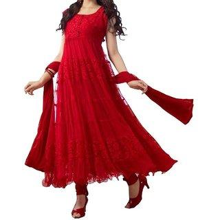 Beautiful Designer Red Color Net-Brasso Long Anarkali Suit
