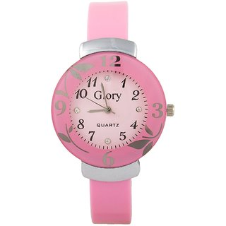 Glory Circular Dial Pink Strap Design Glass Dial Watch For Women