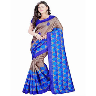 7 BROTHERS Blue  Bhagalpuri Silk  Block Print Saree With Blouse