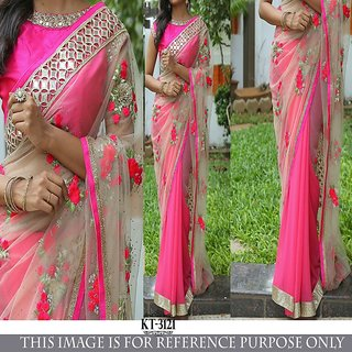 Regina New Exclusive Pink Nylon Net Heavy Embroidery Designer Bollywood Style Saree-sari