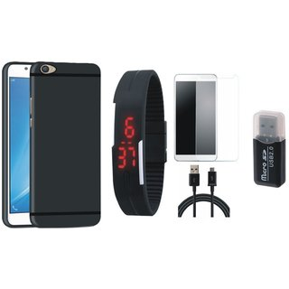 Redmi 4A Soft Silicon Slim Fit Back Cover with Memory Card Reader, Free Digital LED Watch, Tempered Glass and USB Cable