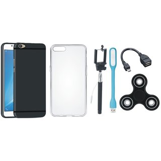 Oppo F3 Plus Silicon Anti Slip Back Cover with Spinner, Silicon Back Cover, Selfie Stick, LED Light and OTG Cable