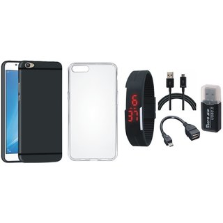 Redmi A1 Silicon Slim Fit Back Cover with Memory Card Reader, Silicon Back Cover, Digital Watch, OTG Cable and USB Cable