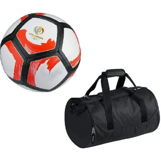 Combo of Pitchciento Cope America Centenario White/Red Football (Size-5) with Kit Bag