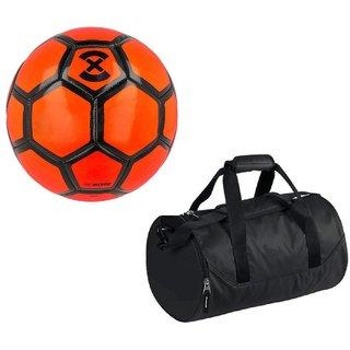 Combo of Strike X Orange Football (Size-5) with Kit Bag