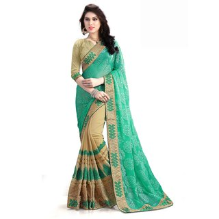 SS Green  Georgette  Embroidered Saree With Blouse